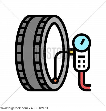 Wheel Inflation Color Icon Vector. Wheel Inflation Sign. Isolated Symbol Illustration