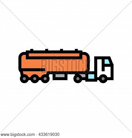 Fuel Carrying Truck Color Icon Vector. Fuel Carrying Truck Sign. Isolated Symbol Illustration