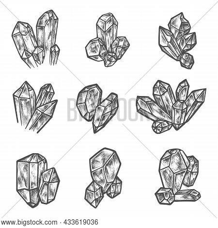Crystals And Gemstones, Vector Sketch Icons. Hand Drawn Pencil Sketch Geologic Minerals And Precious
