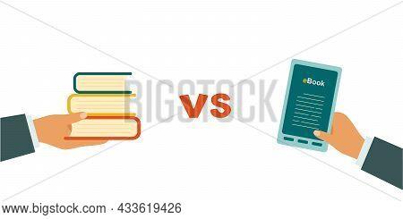 E-book Versus Paper. Book Day. Vector Illustration