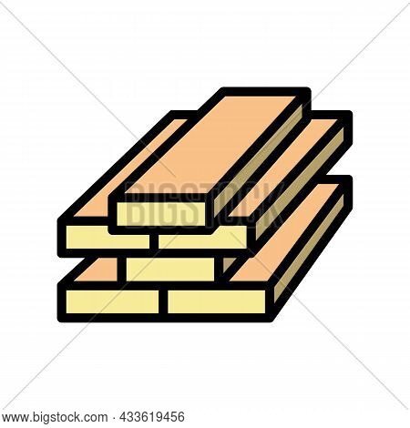 Lumber Timber Color Icon Vector. Lumber Timber Sign. Isolated Symbol Illustration