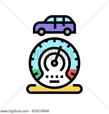Mileage Car Equipment Color Icon Vector. Mileage Car Equipment Sign. Isolated Symbol Illustration