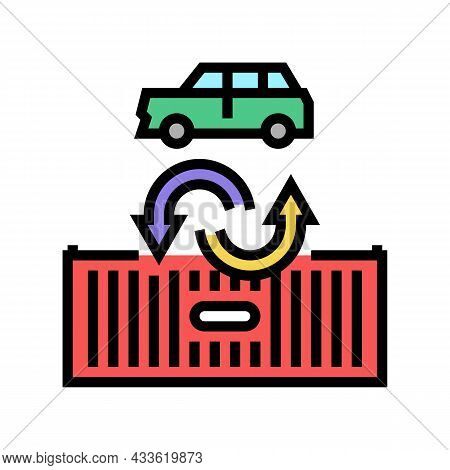 Import Car Color Icon Vector. Import Car Sign. Isolated Symbol Illustration