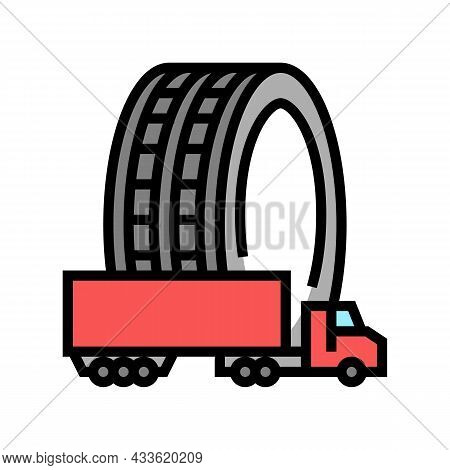 Commercial Truck Tires Color Icon Vector. Commercial Truck Tires Sign. Isolated Symbol Illustration