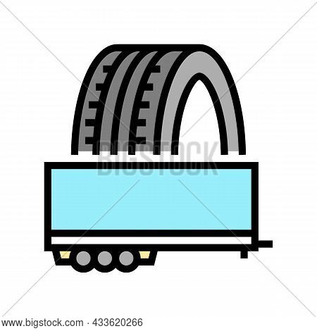 Trailer Tires Color Icon Vector. Trailer Tires Sign. Isolated Symbol Illustration