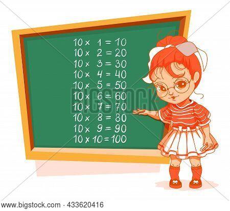 Schoolgirl At Blackboard 10 Ten Multiplication Table Vector Cartoon