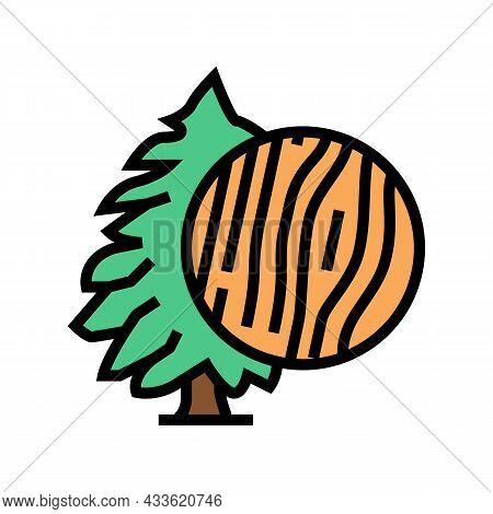 Cedar Wood Color Icon Vector. Cedar Wood Sign. Isolated Symbol Illustration