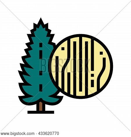 Pine Wood Color Icon Vector. Pine Wood Sign. Isolated Symbol Illustration