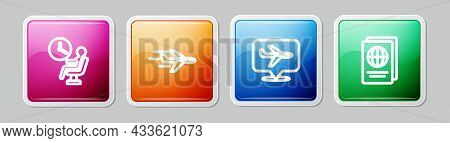 Set Line Human Waiting In Airport Terminal, Plane, And Passport. Colorful Square Button. Vector