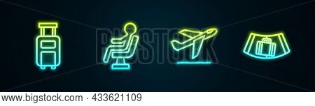 Set Line Suitcase, Human Waiting In Airport Terminal, Plane Takeoff And Conveyor Belt With Suitcase.