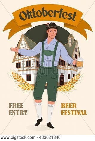Oktoberfest Beer Festival Vintage Poster. A Man In A National German Costume With A Mug Of Beer On T