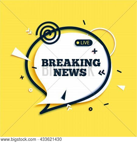 Breaking News Speech Bubble And Megaphone With Abstract Geometric Shapes In Paper Cut Style. White S