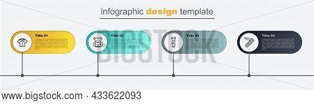 Set Line Swiss Army Knife, Flashlight, Hippo Or Hippopotamus And Shirt. Business Infographic Templat