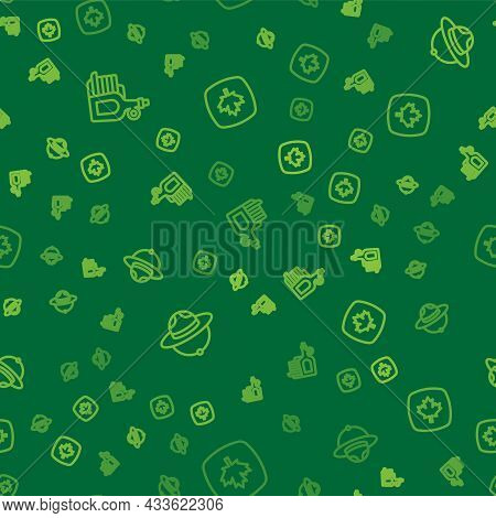 Set Line Syrup With Pancakes, Canadian Ranger Hat And Maple Leaf On Seamless Pattern. Vector
