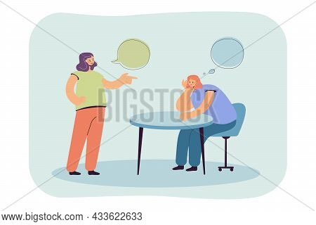 Cartoon Girl Thinking While Talking To Friend Or Colleague. Bored Woman Sitting At Table, Boring Con
