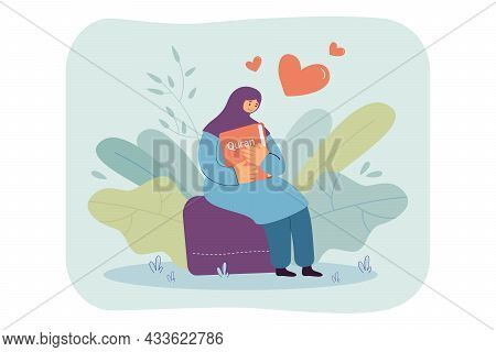 Happy Arabic Woman Hugging Quran. Muslim Female Character Sitting And Holding Religious Book Flat Ve