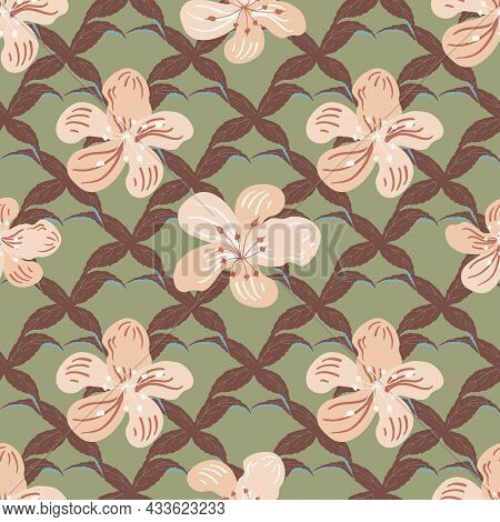 Vanilla Blossom Seamless Vector Pattern Background. Conceptual Abstract Orchid Buds On Lattice Backd