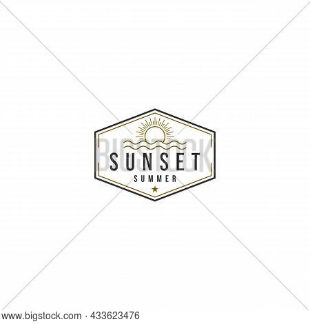 Simple Recognizable Sunset Logo On White Background