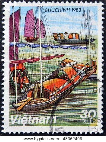 A stamp printed in Vietnam shows Docked Sampans