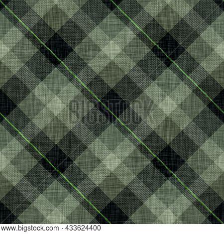 Woven Argyle Plaid Background Weave Pattern. Traditional Diamond Checked Decor Linen Texture Effect.