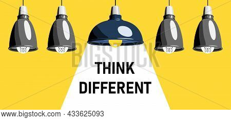 Think Different Concept Illustration. Several Identical Pendant Lamps In A Row, Among Them One Diffe