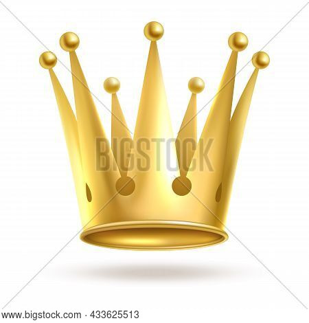 Crown Golden. Gold Elegant Metal Royal Crowning Isolated On White Background. Queen Or King, Princes