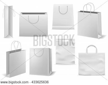 Shopping Bag. Realistic White Handbag Mockup. Empty Paper Fashion Square Packaging With Handles. 3d