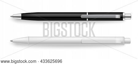 Pen Realistic Black And White. Stationery Tools For Writing Realistic Mockup. Objects With Shadow Ab