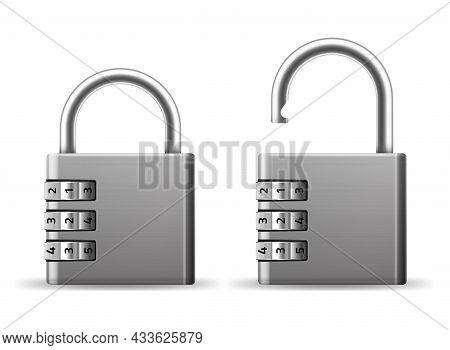 Padlocks Combination. Realistic Metallic Locks. Secret Key Code. Rotating Wheels With Numbers. Safet