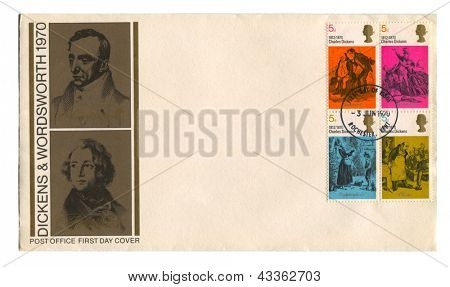 UK - CIRCA 1970: A stamp printed in UK shows image of the Dickens & Wordsworth 1970, circa 1970.