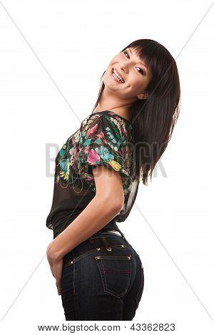 Attractive brunette woman wearing jeans