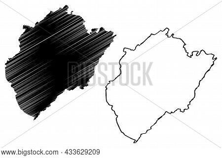 Budgam District (jammu And Kashmir Union Territory, Republic Of India) Map Vector Illustration, Scri