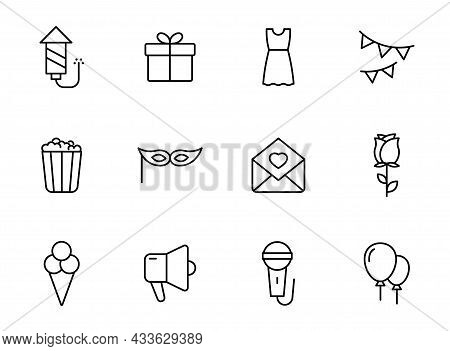 Party Linear Vector Icons Isolated On White. Party Celebration Icon Set For Web And Ui Design, Mobil