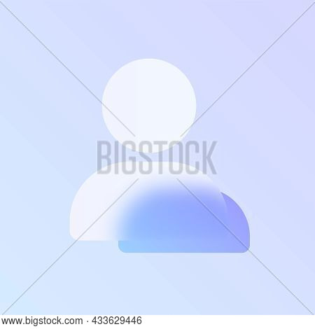 User Glass Morphism Trendy Style Icon. User Transparent Glass Color Icon With Blur And Purple Gradie