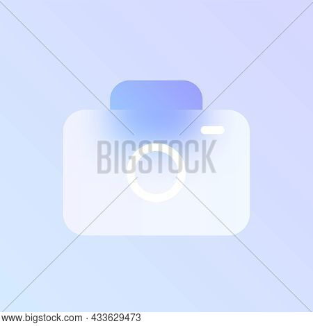Camera Glass Morphism Trendy Style Icon. Photo Camera Transparent Glass Vector Icon With Blur And Pu
