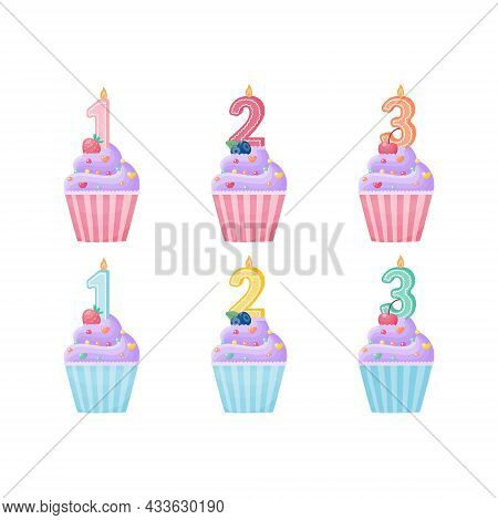 Cute Cupcake Of Lilac Color, In Pink And Blue. Number One, Number Two, Number Three. A Set For Postc