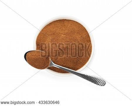 Plate And Spoon Of Chicory Powder On White Background, Top View