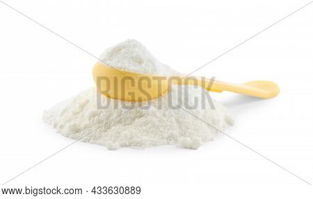 Powdered Infant Formula And Measuring Scoop On White Background. Baby Milk