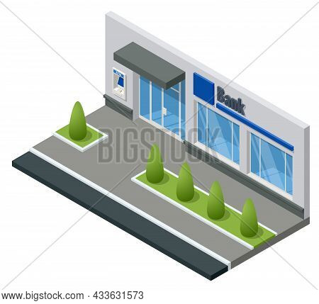 Isometric Bank Branch Office Building Isolated On White. Financial Center. City Bank Building On The