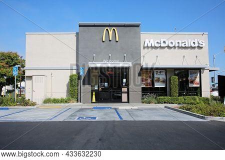 September 15, 2021- Redondo Beach California: McDonald's Restaurant in Redondo Beach Ca. McDonald's is an American hamburger and fast food restaurant chain.