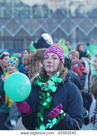 Woman Spectator At St. Patrick's Day
