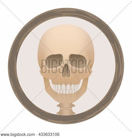 Skull Or Deaths Head Logo In A Round Frame - Creepy, Spooky, Frightening, But With A Friendly Smile.