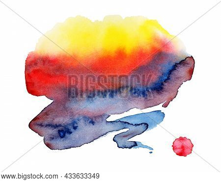 Watercolor Spot, Isolated On A White Background.   Hand-drawn Illustration.