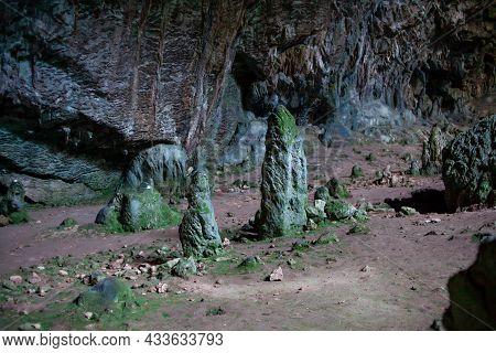 Stalactites Stalagmites And Streak Formations In Cave Of Nimara Magarasi, Turkey. Stone Walls And Ro