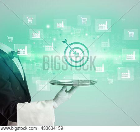 Waiter serving business idea concept