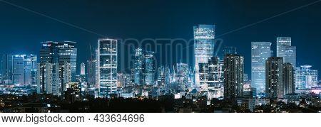 Tel Aviv Skyline And Ramat Gan At Night,  Tel Aviv Cityscape, Israel