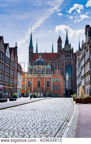 View Of The Royal Chapel And St. Mary's Cathedral In The Historic City Center Of Gdansk