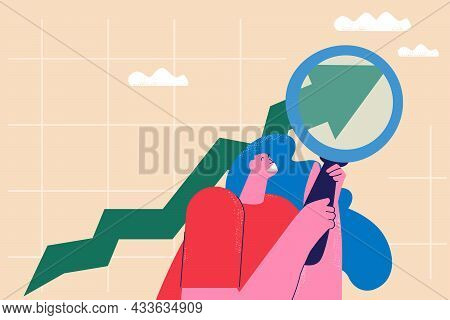 Business Growth Concept, Arrow Showing Progress, Business Monitoring And Evaluation, Analyzing, Char