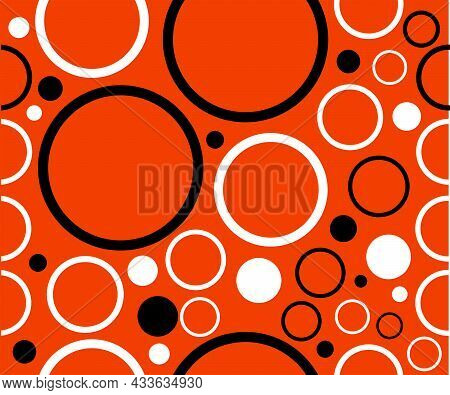 Seamless Background In Circles Shapes Of White And Black Bright Wall Paper, Good For Printing. Summe