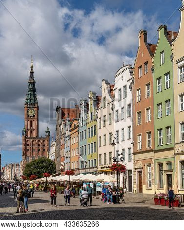View Of The Long Market And The Town Hall In The Historic City Center Of Gdansk